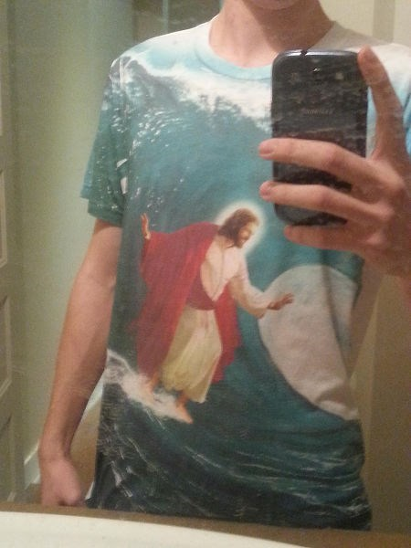 jesus poorly dressed t shirts surfing - 8421912576
