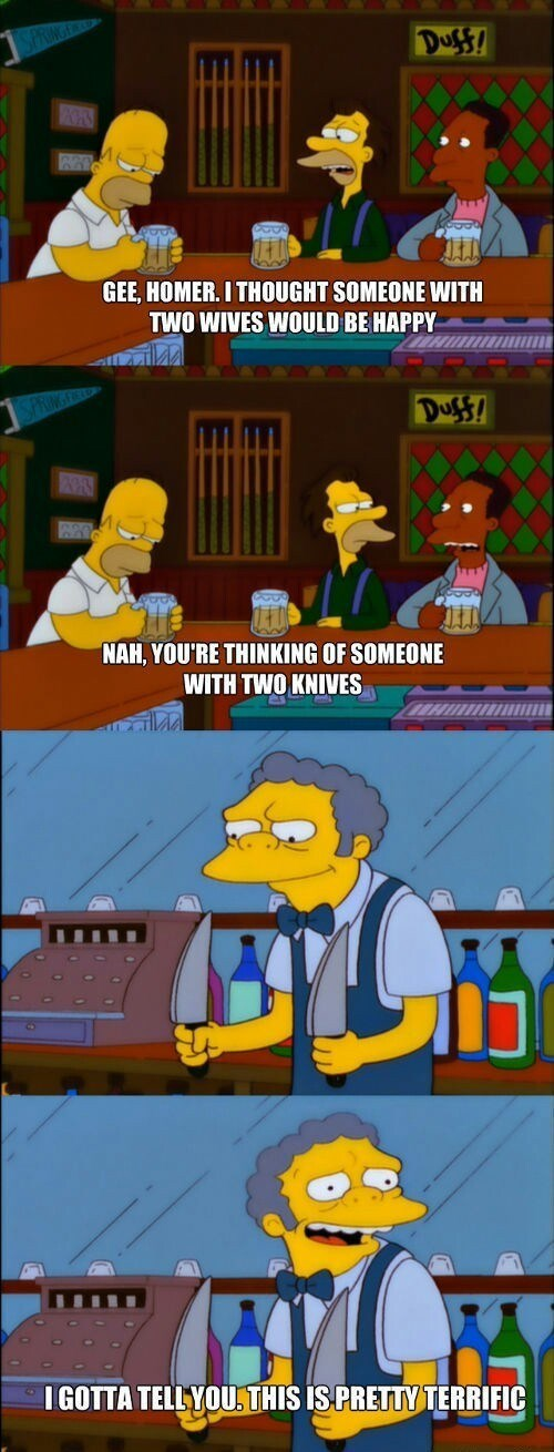 moe knives wife the simpsons funny - 8422520320