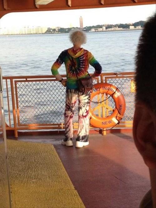 poorly dressed,ferry,tie dye,boat