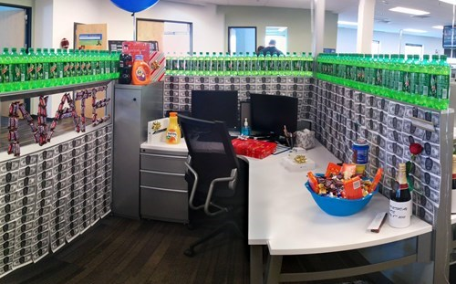 monday thru friday,candy,birthday,soda,mountain dew,cubicle