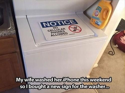 warning sign phone washing machine