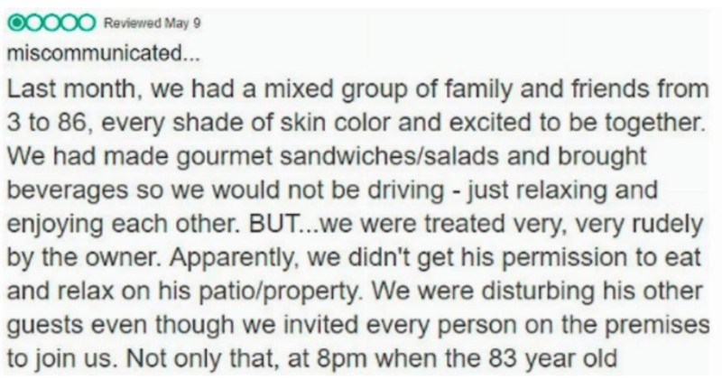 hotel react to review claiming they're racist
