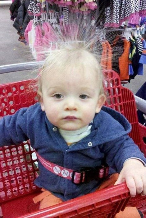 hair,baby,static electricity,shopping cart,parenting