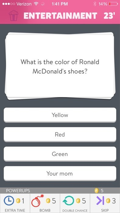 Ronald McDonald,trivia crack,your mom