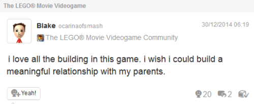 Sad,Miiverse,the lego movie videogame