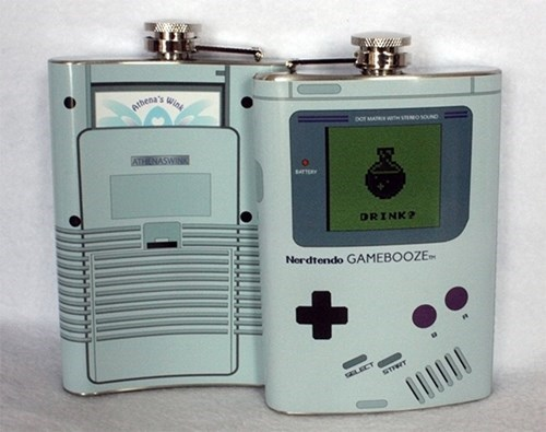 booze,etsy,for sale,flask,gameboy