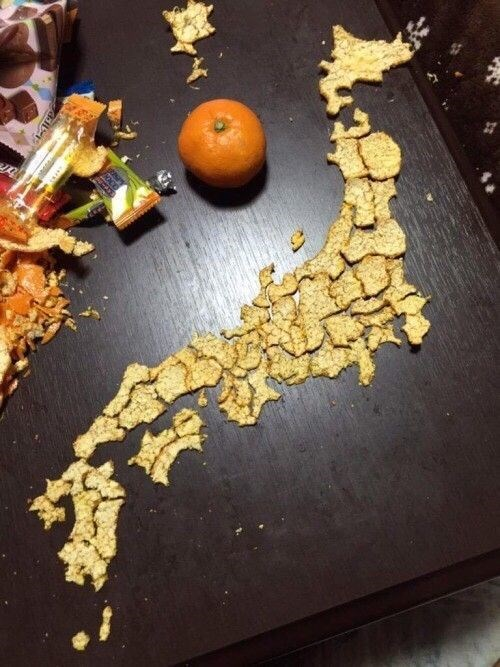 orange,design,map,Japan,fruit
