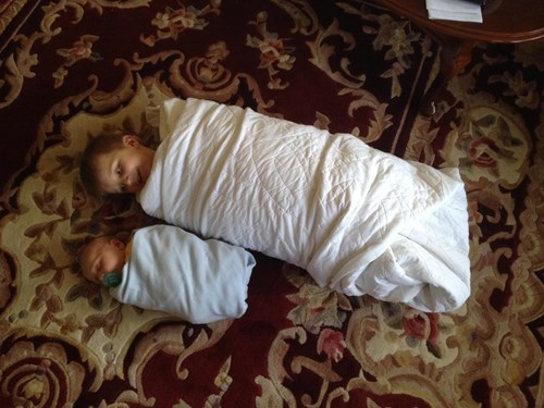 baby kids brother siblings swaddling parenting - 8426848256