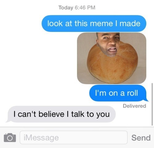 DM of making dank memes on a roll, but more like a pita bread.