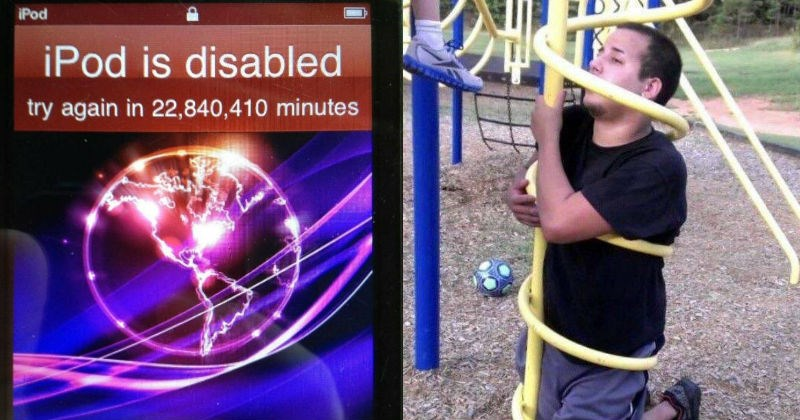 bad days, unfortunate, unlucky day, phone locked for years, man stuck in playground