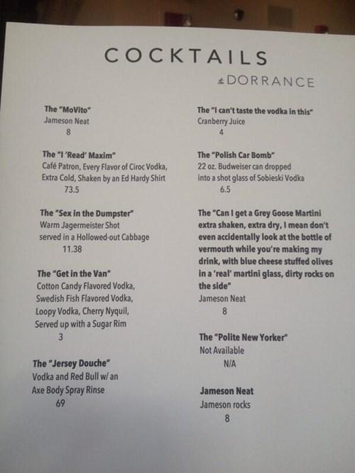 Humorous cocktail menu