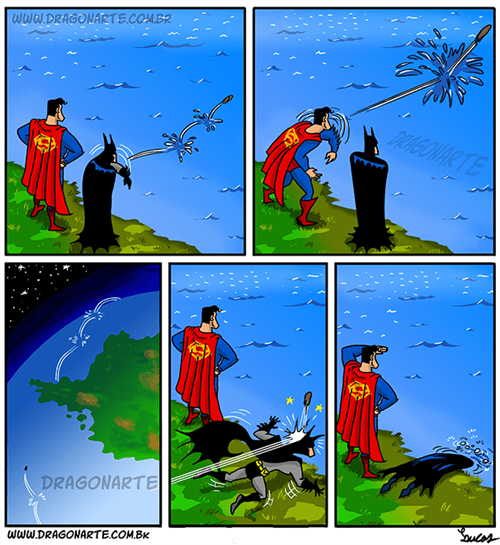 Batman v Superman skipping rocks web comics - 8427566336