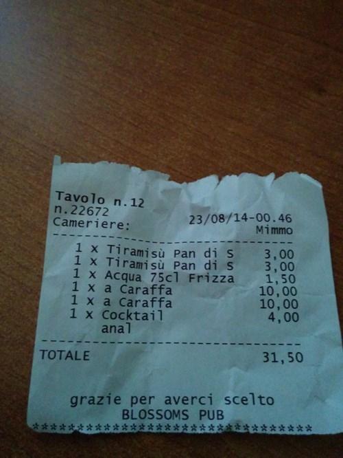 butt stuff cocktails on a receipt
