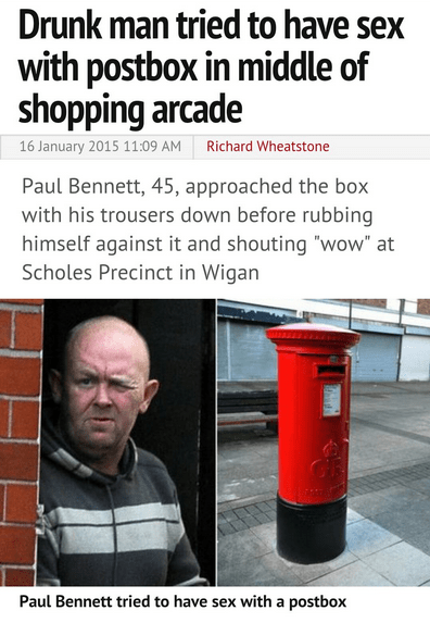 man has sex with a post box
