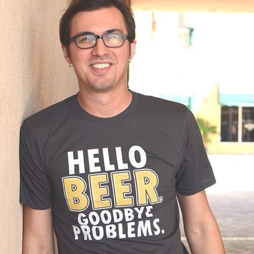 t-shirt says hello beer goodbye problems