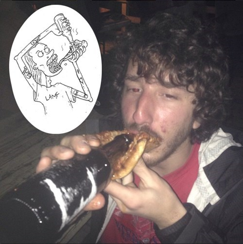 drinking beer through a pizza slice