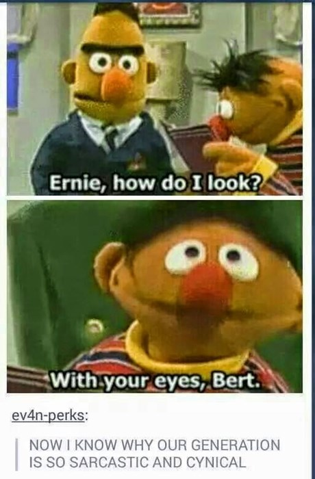 Cartoon - Ernie, how doI look? With your eyes, Bert. ev4n-perks: NOW I KNOW WHY OUR GENERATION IS SO SARCASTIC AND CYNICAL