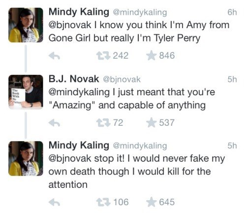 twitter,clever,gone girl,mindy kaling