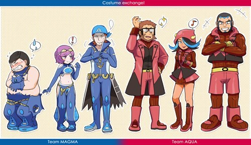 costume,Fan Art,Pokémon,team aqua,ORAS,team magma