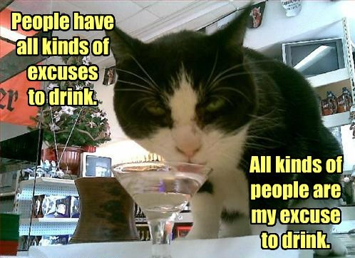 People have all kinds of excuses to drink. All kinds of people are my excuse to drink.