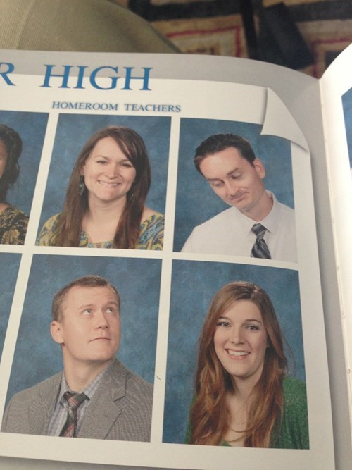 two teacher looking at each other in the yearbook