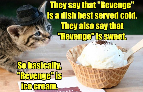 cat revenge cold ice cream sweet caption - 8429887488