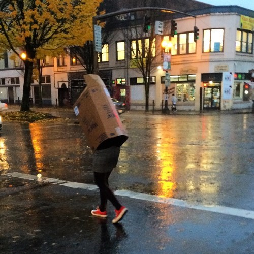 poorly dressed,box,rain