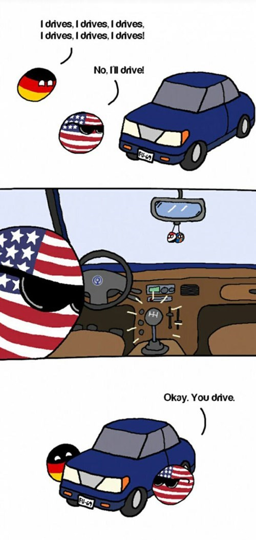 countryballs cars Germany driving america - 8431096064