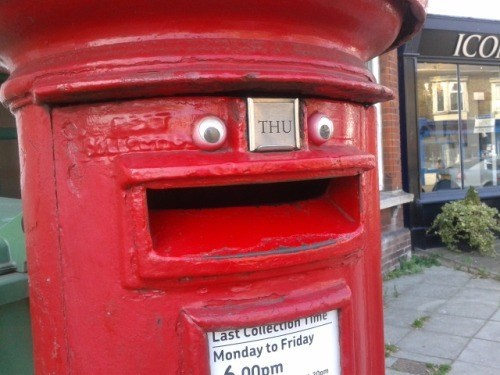 cute,googly eyes,hacked irl,mail