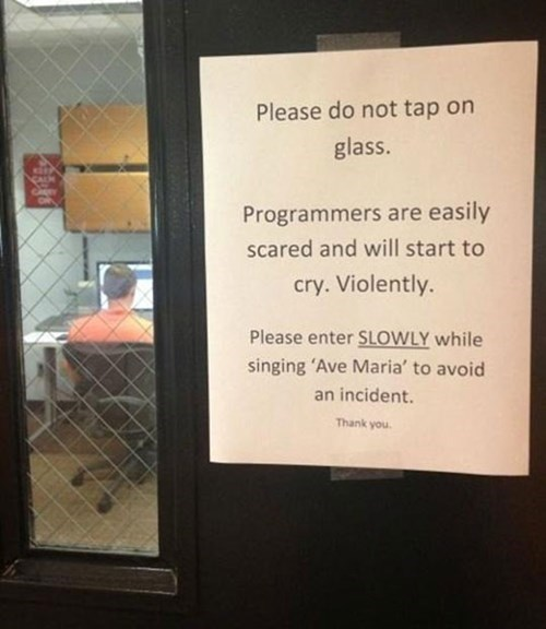 monday thru friday,sign,ave maria,programmers