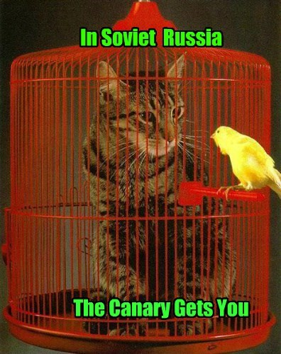 canary cat caption Soviet Russia