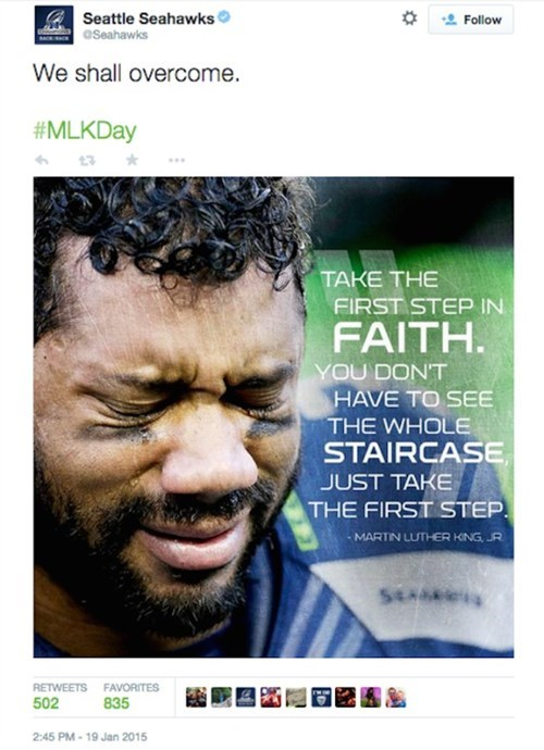 seattle seahawks twitter nfl we shall overcome MLK russell wilson seahawks mlk day football martin luther king jr - 8431732480