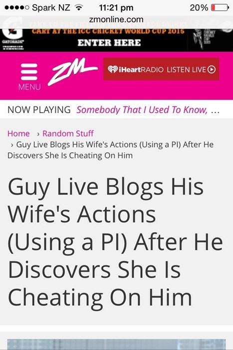 guy live blogs his cheating wife