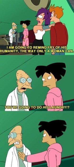 futurama talks about women doing laundry