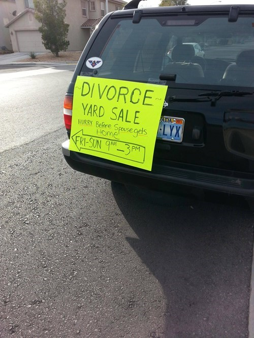 guy has secret divorce yard sale with out his wife's knowledge