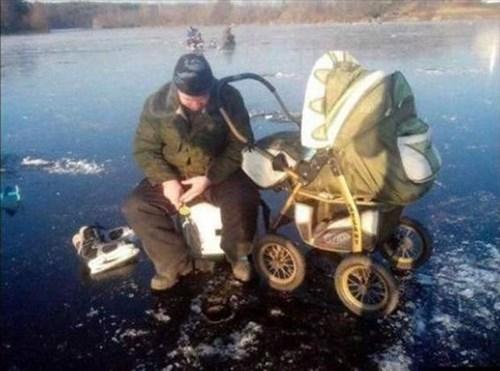 baby,fishing,parenting,ice fishing,stroller,winter