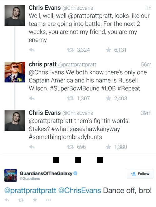 twitter super bowl chris evans chris pratt dance off mcu - 8431830016
