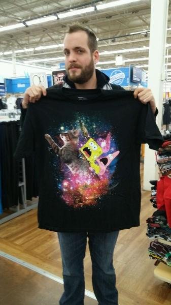 poorly dressed SpongeBob SquarePants t shirts Cats space - 8431873280