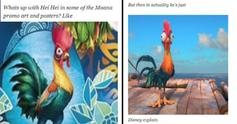 before and after pics of the chicken in moana