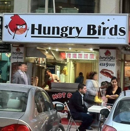 angry birds,engrish,restaurant,knockoff