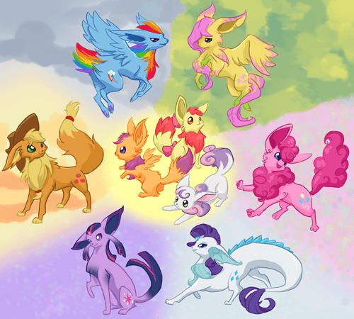 mane 6 evolution eevee cutie mark crusaders - 8432142080