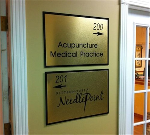 monday thru friday,sign,needle,acupuncture