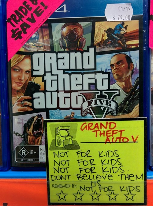 warning retail GTA V grand theft auto v parenting Grand Theft Auto video games g rated