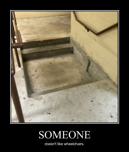 wtf stairs wheelchairs funny - 8432651776