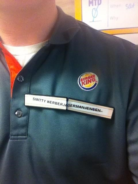 monday thru friday,name tag,fast food,name,g rated