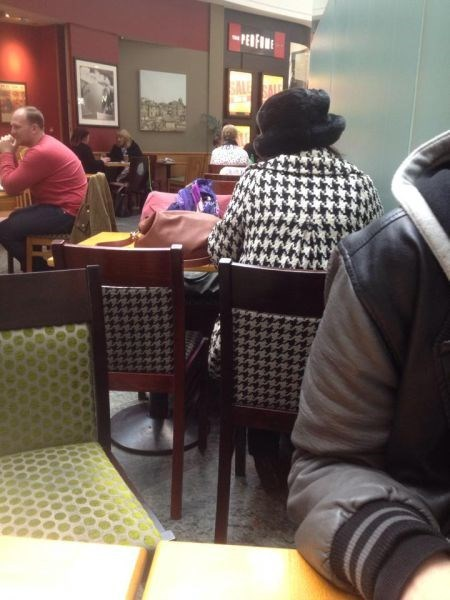houndstooth,chair,jacket,poorly dressed,matching