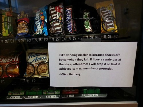 candy sign mitch hedberg temporarily stairs vending machine quote