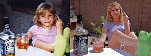 years later girl takes the same photo with whiskey