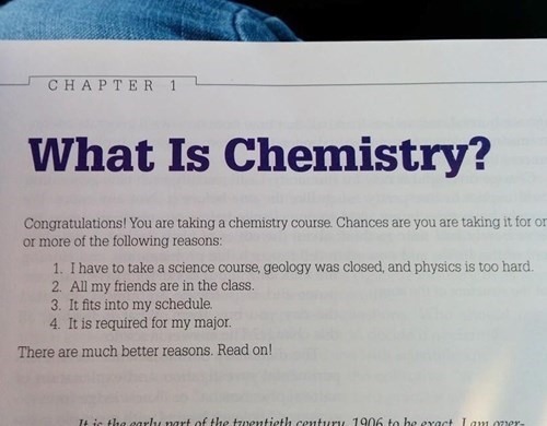 chemistry textbook gives 4 options to take the course
