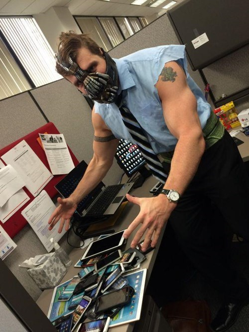 monday thru friday,costume,coworkers,bane